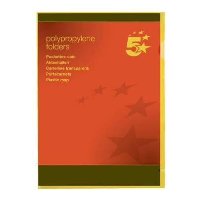 5 Star Folder Cut Flush Polypropylene Copy-safe Translucent A4 Yellow [Pack 25]