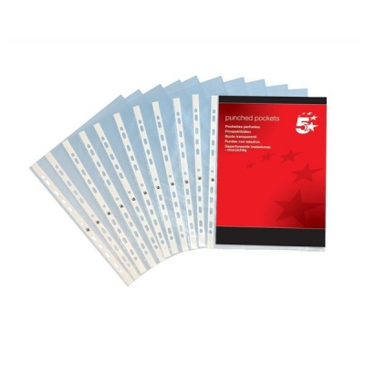 5 Star Punched Pocket Polypropylene Top-opening A4 Glass Clear [Pack 100]