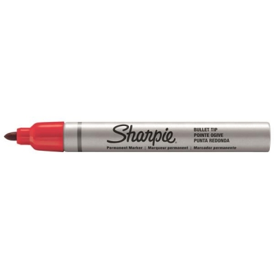 Sharpie Metal Permanent Marker Small Bullet Tip 1.0mm Line Red Ref S0945740 [Pack 12]