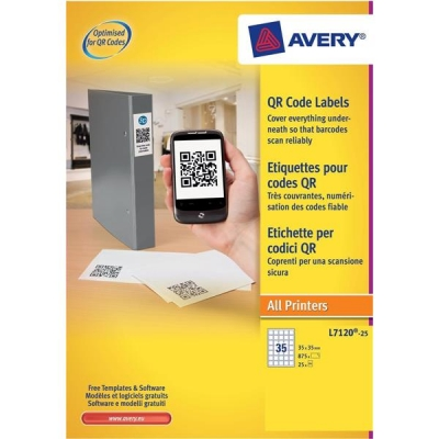 Avery Blockout QR Code Label 35 per Sheet 35x35mm White Square Ref L7120-25 [875 labels]