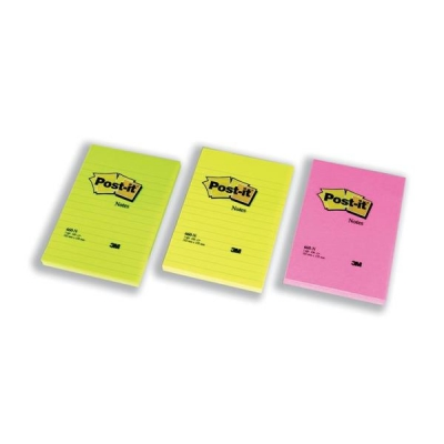Post-it Notes Large Format Notes Feint Ruled Pad of 100 Sheets 102x152mm Rainbow Colour Ref 660N [Pack 6]