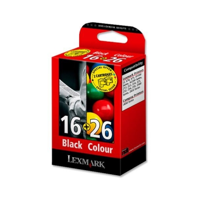 Lexmark No. 16 and No. 26 Inkjet Cartridge Page Life 410/275pp Black/Colour Ref 0080D2126 [Pack 2]