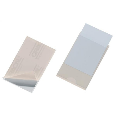 Durable Pocketfix Business Card Pocket Self Adhesive Side Opening 57x90mm Ref 8079 [Pack 10]