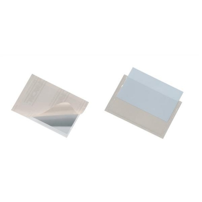 Durable Pocketfix Business Card Pocket Self Adhesive Top Opening 57x90mm Ref 8093 [Pack 10]