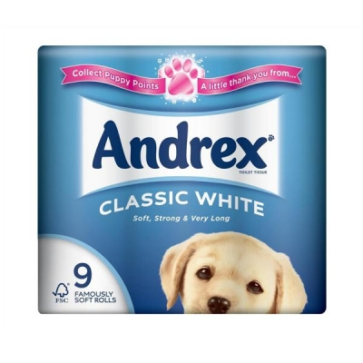 Andrex Toilet Rolls 2-Ply 240 Sheets Classic White Ref M01377 [Pack 9]