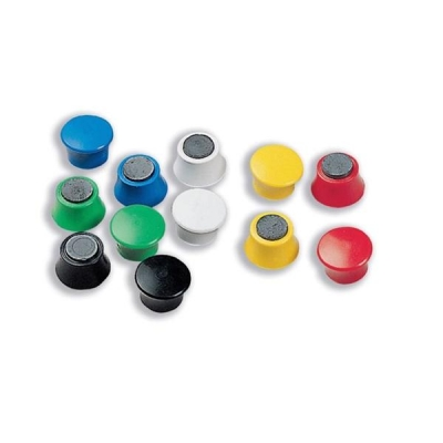 Nobo Magnetic Drawing Pins Round Plastic Diameter 18mm Assorted Ref 1901102 [Pack 12]