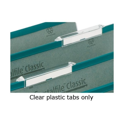 Rexel Crystalfile Classic Tabs Extra-deep Plastic for Linked Suspension File Clear Ref 78289 [Pack 50]