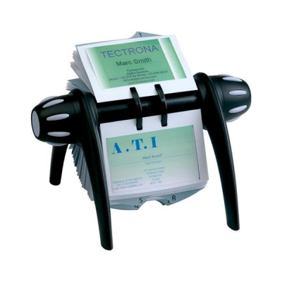 Durable Visifix Flip Rotary File with 200 Pockets for 400 Business Cards Black Ref 2417/01