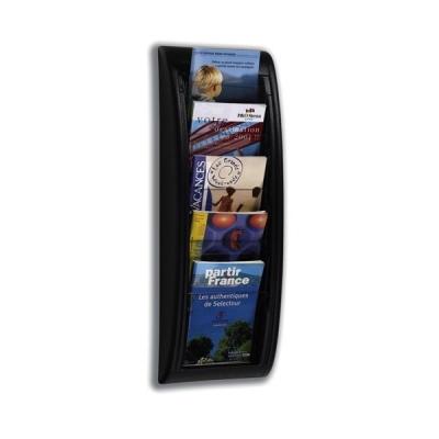 Literature Holder Wall Mount 5 x A5 Pockets Black