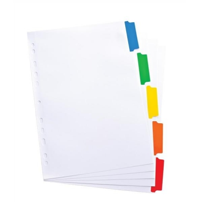 Elba Dividers Europunched 5-Part with Coloured Tabs A4 White Ref 100204963