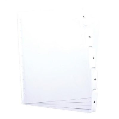 Elba Dividers Europunched 1-5 Clear Tabs A4 White Ref 100204623