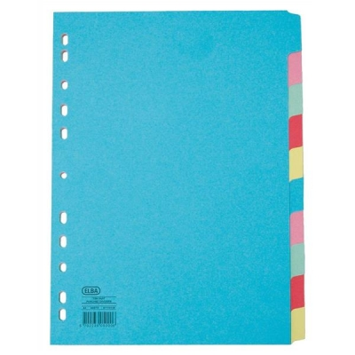 Elba Card Dividers Europunched 10-Part A4 Plus Extra Wide Assorted Ref 400007242