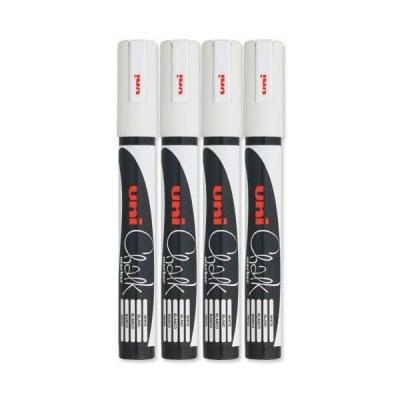 uni Chalk Marker Broad Bullet Tip PWE-5M Line Width 1.8-2.5mm White Ref 153494342 [Pack 4]