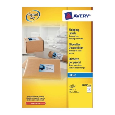 Avery Quick DRY Addressing Labels Inkjet 6 per Sheet 99.1x93.1mm White Ref J8166-100 [600 Labels]