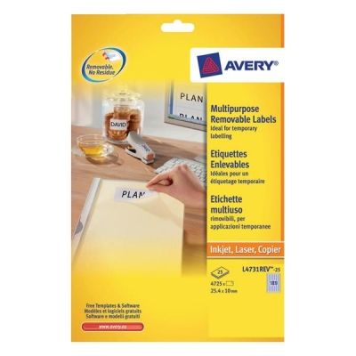 Avery Mini Labels Removable Laser 189 per Sheet 25.4x10mm White Ref L4731REV-25 [4725 Labels]