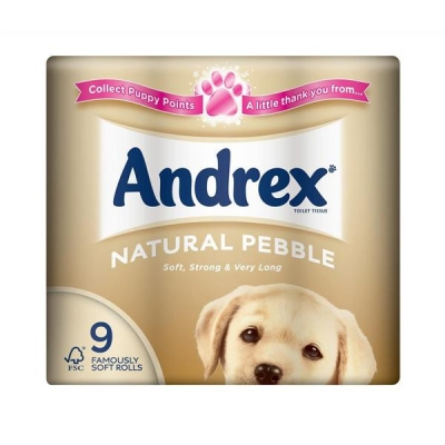 Andrex Toilet Rolls 2-Ply 240 Sheets Natural Pebble Ref M01378 [Pack 9]