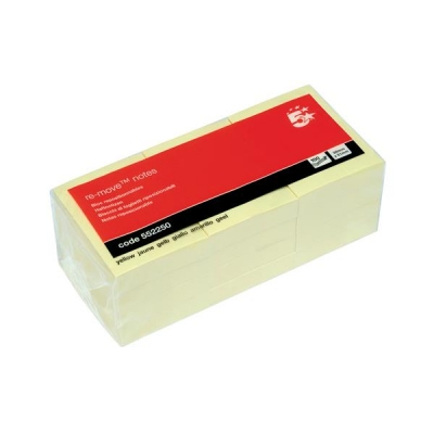 5 Star Re-Move Notes Repositionable Pad of 100 Sheets 38x51mm Yellow [Pack 12]