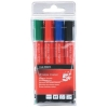 5 Star Drywipe Marker Xylene/Toluene-Free Bullet Tip 3mm Line Assorted [Pack 4]