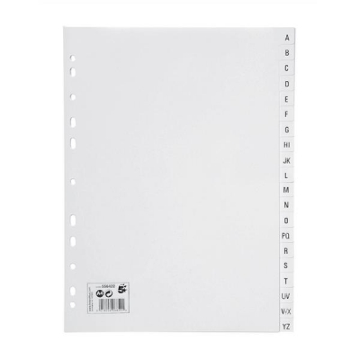5 Star Index Multipunched 130 micron Polypropylene A-Z A4 White