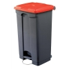 EcoStep Bin 90 Litre Red Lid Grey Ref SPICEECO90STEP1