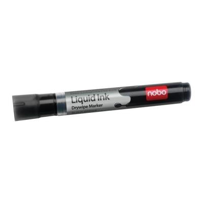 Nobo Liquid Ink Drymarker Drywipe Flipchart OHP Bullet Tip Line Width 3mm Black Ref 1901073 [Pack 12]