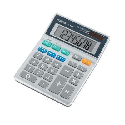 Aurora Calculator Desktop Battery/Solar-power 8 Digit 3 Key Memory 102x133x26mm Ref DB453B