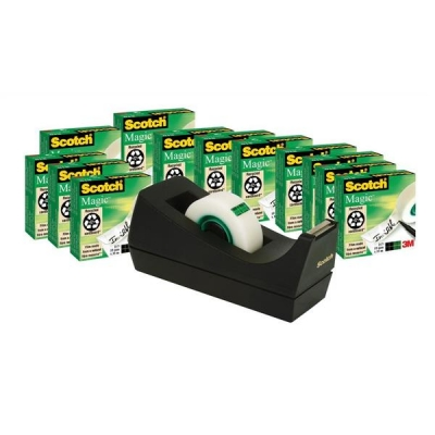 Scotch Magic Tape 12 rolls and a FREE Dispenser 19mmx33m Ref SM12