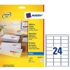 Avery Quick DRY Addressing Labels Inkjet 24 per Sheet 63.5x33.9mm White Ref J8159-25 [600 Labels]