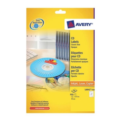 Avery CD/DVD Labels Laser 2 per Sheet Dia.117mm Classic Size Black and White Ref L6043-100 [200 Labels]
