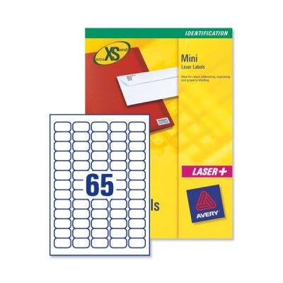Avery Mini Labels Inkjet 65 per Sheet 38.1x21.2mm White Ref J8651-100 [6500 Labels]