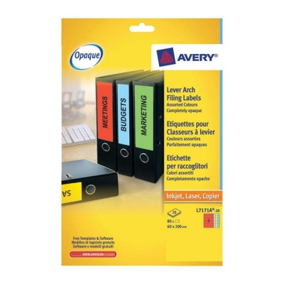 Avery Filing Labels Laser Lever Arch 4 per Sheet 200x60mm Assorted Ref L7171A-20 [80 Labels]
