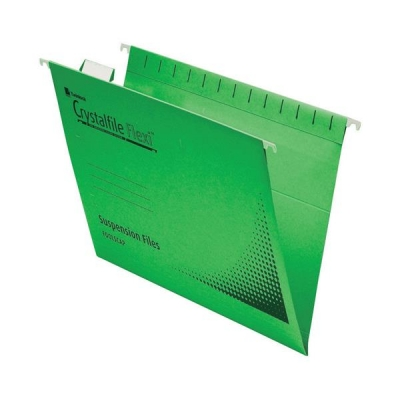 Rexel Crystalfile Flexifile Suspension File Manilla V-base Foolscap Green Ref 3000040 [Pack 50]