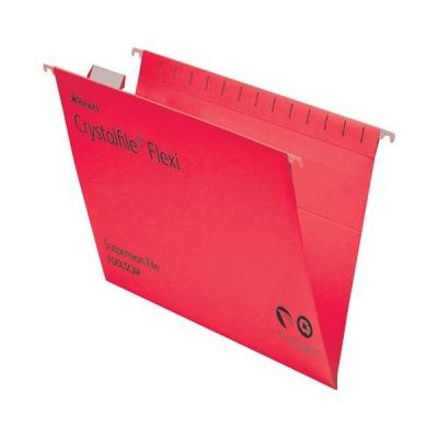 Rexel Crystalfile Flexifile Suspension File Manilla V-base Foolscap Red Ref 3000042 [Pack 50]