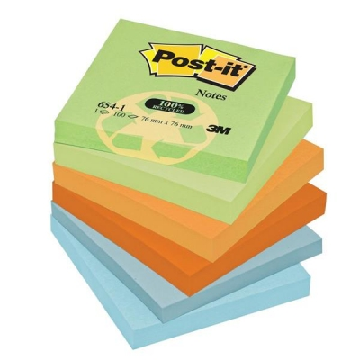 Post-it Notes Recycled 100 Sheets per Pad 76x76mm Pastel Rainbow Ref 654-1RP [Pack 12]
