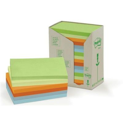 Post-it Notes Pad Recycled Tower Pack 76x127mm Pastel Rainbow Ref 655-1RPT [Pack 16]