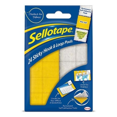 Sellotape Sticky Hook and Loop Pads 24 Sets 20x20mm Ref 1445176