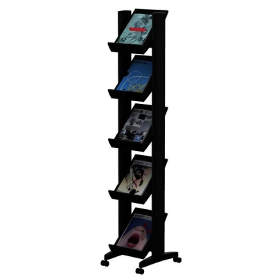 Literature Display Corner Mobile 5 Shelves 35mm Lip Black