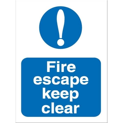 Stewart Superior Fire Escape Keep Clear Self Adhesive Sign Ref M025SAV