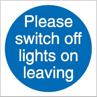 Stewart Superior Please Switch Off Lights Self Adhesive Sign Ref M013SAV [Pack 5]