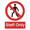 Stewart Superior Staff Only Self Adhesive Sign Ref PO85PVC