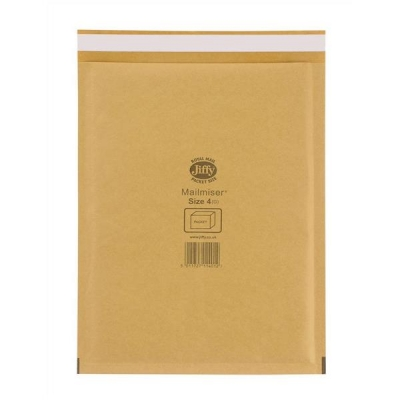 Jiffy Mailmiser Protective Envelopes Bubble-lined No.4 Gold 240x320mm Ref JMM-GO-4 [Pack 50]
