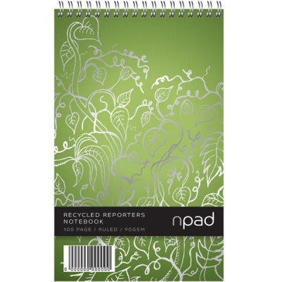 Oxford npad Shorthand Notebook Recycled Wirebound Ruled Margin 120pp A5Plus Green Ref 100080120 [Pack 10]