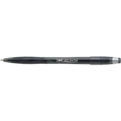 Bic Atlantis Ball Pen Cushion Grip Broad 1.2mm Tip 0.8mm Line Black Ref 837386 [Pack 12]