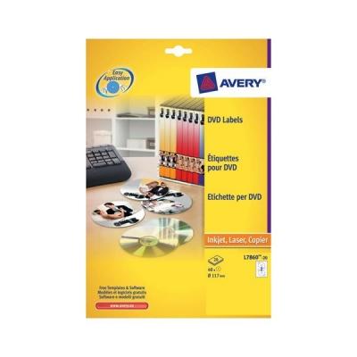 Avery CD/DVD Labels Laser Colour 2 per Sheet Dia.117mm DVD-safe Matt White Ref L7776-25 [50 Labels]