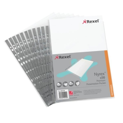 Rexel Nyrex Premium Presentation Pockets Multipunched Top Opening A4 Clear Ref 2001018 [Pack 50]