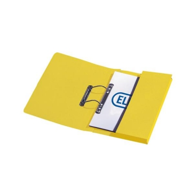 5 Star Transfer Spring Files with Inside Pocket 315gsm 38mm Foolscap Yellow [Pack 25]