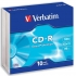 Verbatim CD-R Recordable Disk Slim Cased Write-once 52x Speed 80 Min 700Mb Ref 43415 [Pack 10]