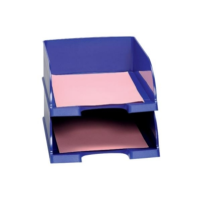 Letter Tray Jumbo Deep Sided with 2 Label Positions Blue