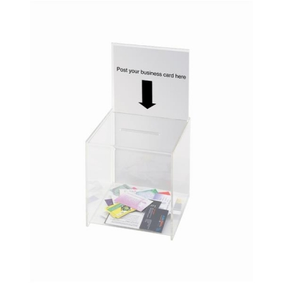 Suggestion Box / Business Card Box With Sign Holder Crystal Clear