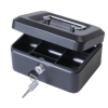 Cash Box with Simple Latch and 2 Keys plus Removable Coin Tray 150mm Black